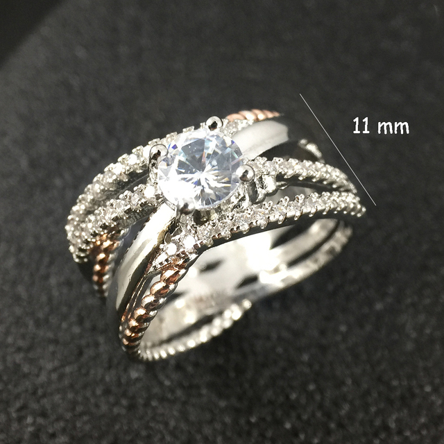 925 Silver AAA Zircon Luxury CUrve Intersection Female Crystal Round Stone Ring Engagement Ring Vintage Party Rings For Women 2