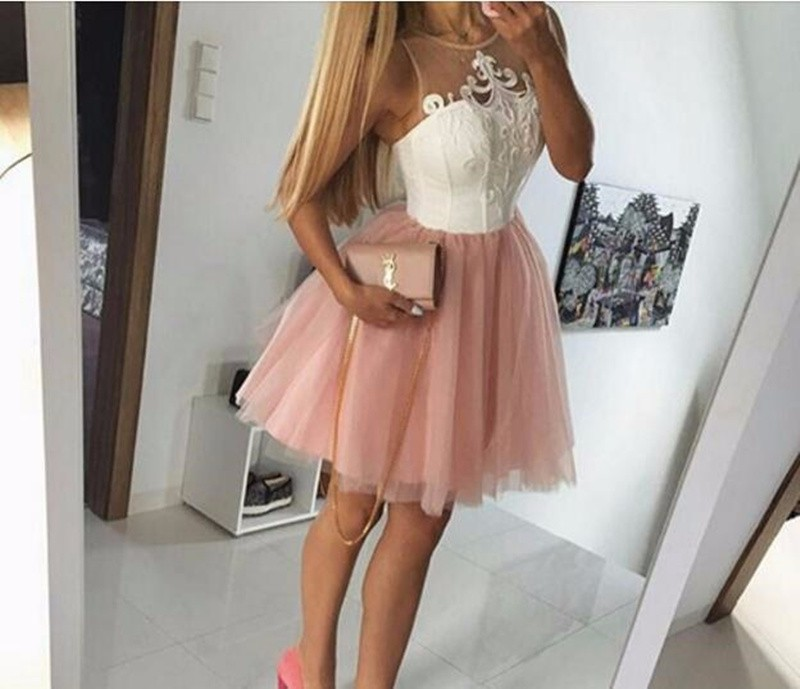 Cheap 2019 Sexy Pink Tulle Sweet Scoop Emboridery Tutu Short Party Prom Cocktail Dresses