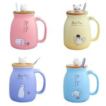 New Cartoon Glazed Cat Ceramic Cup - with Lid Spoon Mug - Japanese Style Innovative Coffee Cup Water Cup(China)