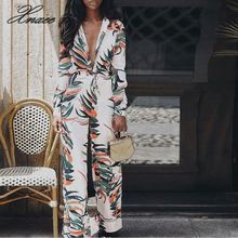 2019 Summer Boho Beach Style Women Jumpsuits Leaves Print   Female Short Overalls Casual High Street Jumpsuit Xnxee flounce layered neckline leaves print jumpsuit