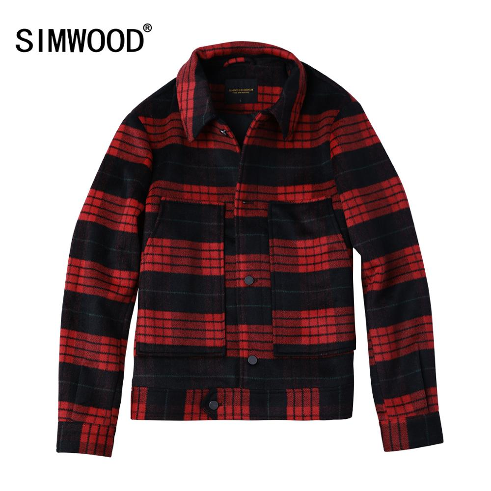 SIMWOOD 2020 spring Jackets Men Fashion Plaid Casual Wool Blends Coats Men Outwear Brand Clothes Jackets casaco masculino 180618