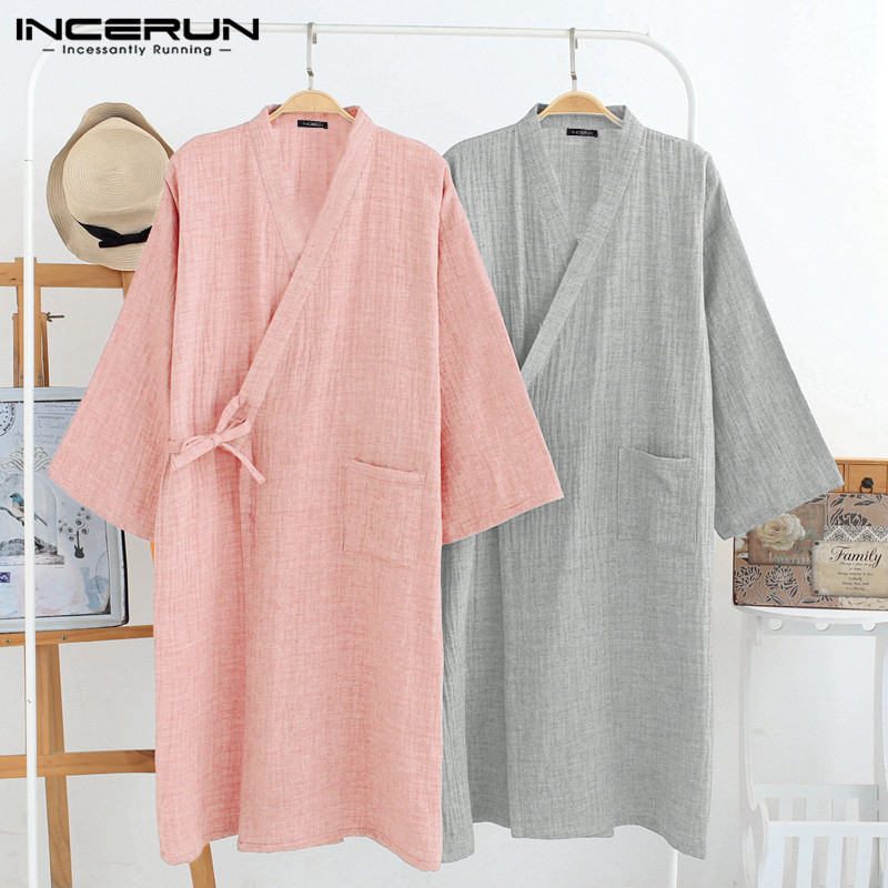 INCERUN Cotton Robes Men 3/4 Sleeve V Neck Kimono Leisure Solid Couple Pajamas Breathable Japanese Sleepwear Men Bathrobes S-5XL