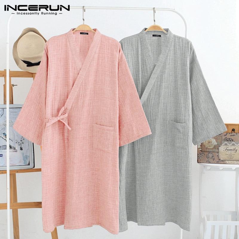 INCERUN Cotton Robes Men 3/4 Sleeve V Neck Kimono Leisure Solid Couple Pajamas Breathable Japanese Sleepwear Men Bathrobes S-5XL