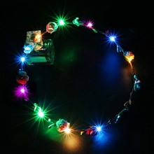 7Pcs LED Flower Crown Wreath Headband Headpiece Headdress 18cm for Girl Artificial Decoration Festive Party Supplies