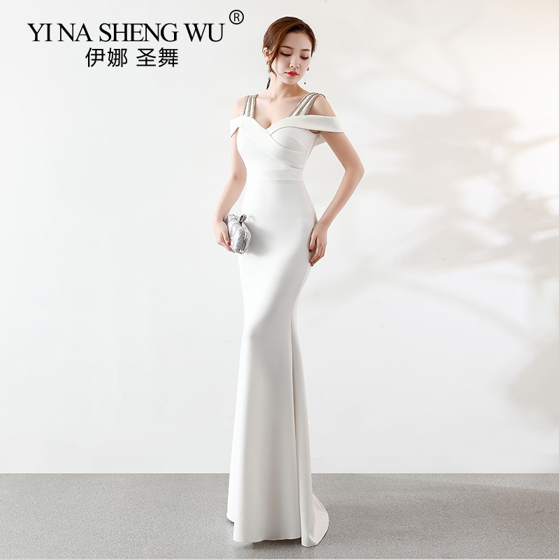 Nouvelle sirène blanche longues robes longues Satin larges bretelles cristal formel mariée Banquet fête robe De bal Longo Vestido De Festa