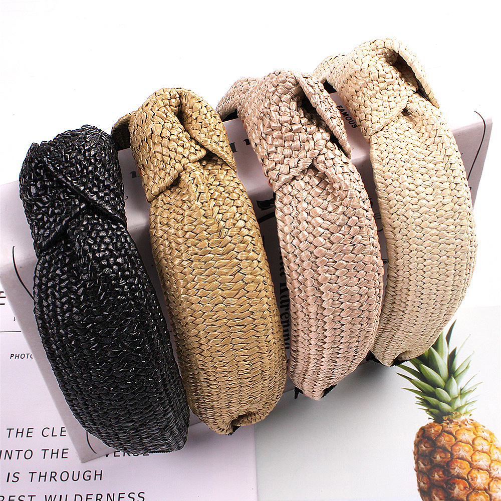 Women Bowsknot Braid Headband Spring Summer New Straw Headbands Solid Color Fashion Headwear Girls Hairbands Hair Accessories