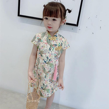 Новые летние платья для девочек, Вечерние Платья с цветочным рисунком для маленьких девочек, детский Традиционный китайский костюм чонсам