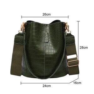 Image 5 - 패션 양동이 핸드백 여성 캐주얼 토트 메신저 가방 악어 패턴 Crossbody 가방 대용량 레트로 숄더 가방 여성