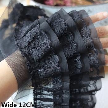 12CM szerokości biały czarny trzy warstwy 3D plisowana siateczka szyfonowa tkanina haftowane wykończone frędzlami sukienka do samodzielnego wykonania odzieży kołnierz szycia wystrój tanie i dobre opinie yoohxin CN (pochodzenie) Haftowana Poliester Bawełna Lace Koronki Przyjazne dla środowiska Elastyczna Rozpuszczalna w wodzie