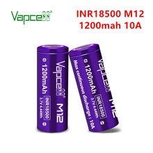 Vapcell original 18500 m12 1200mah 10a li bateria de íon 3.7v bateria de lítio recarregável para lanterna elétrica ferramenta frete grátis
