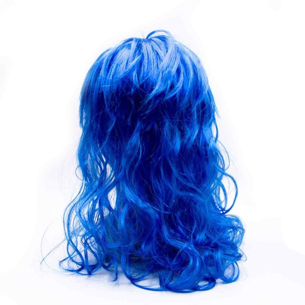 الأزرق الأخضر مجعد طويل الاصطناعية شعر مستعار تأثيري الحرارة مقاومة طويلة موجة دور اللعب شعر مستعار ذيل حصان شكل مخلب الاكسسوارات زي