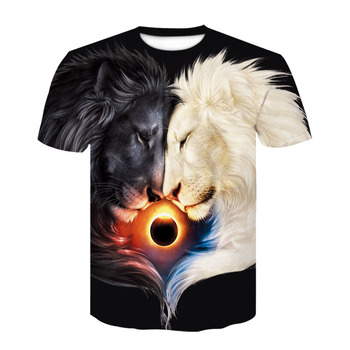 New Summer Style Hip Hop T-shirt Men / women Print Yin and Yang lion 3d T Shirt Clothes Masculina Size S-4XL image