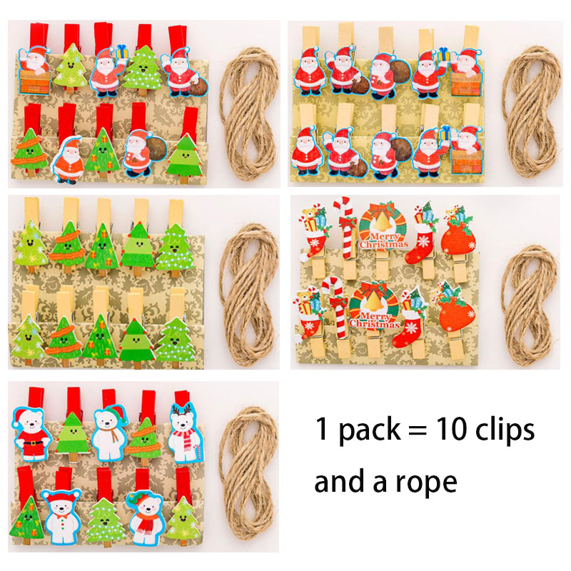 Natural Wooden Christmas Snowman Series Wooden Rope Clip Photo Clip Decorative Clip Office Stationery School Supplies Folder