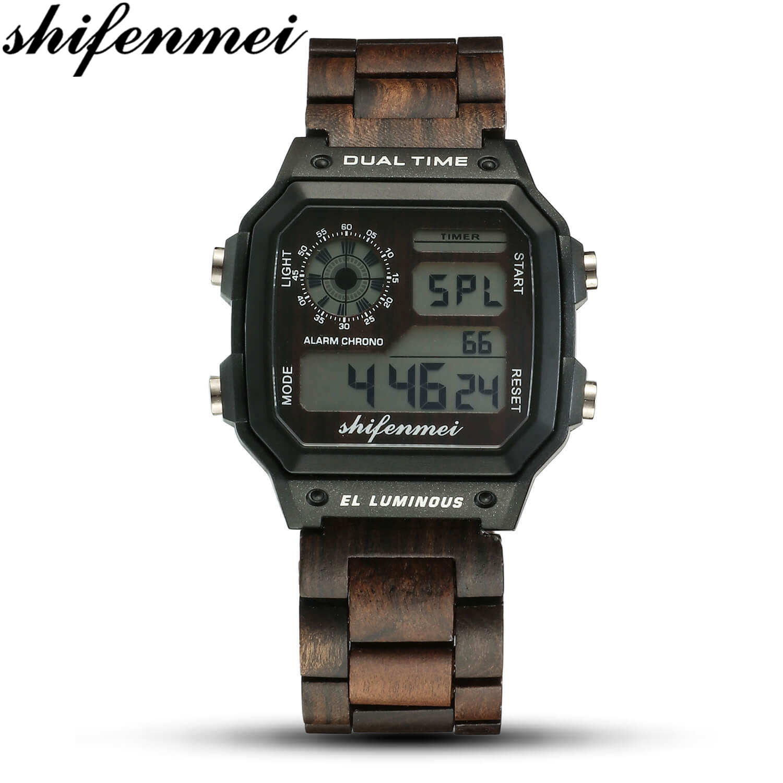 Shifenmei Wooden Watches Men Luxury Brand Sport Watch Outdoor Digital Clock Men Casual Waterproof Military Wood WristWatch Male