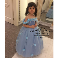 Cinderella Blue 3D Floral Flower Girls Dresses For Wedding 2020 Ball Gown Feather Knot Bow Girls Birthday First Communion Gowns