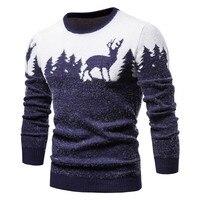 Мужской свитер с оленями шерстяной тонкий облегающий 1
