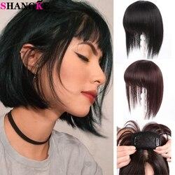 SHANGKE Women's Human Hair Straight Hair Clip In Hair Extension Black Brown Natural Fringe Hair Pieces