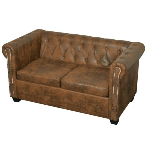 [ES Warehouse] Chesterfield 2 seater sofa in artificial brown leather Free Shipping Spain Drop Shipping 1