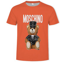 2021 men and women fashion casual gun bear 3D printing T-shirt soft texture hip-hop clothing T-shirt 110/6XL