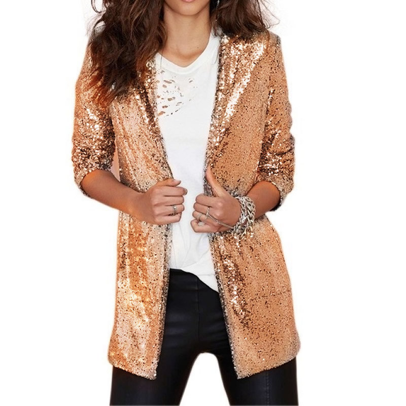 Women Blazer Coat Outerwear Jackets Cardigan Suits Sequined Silver Gold Female Retro title=