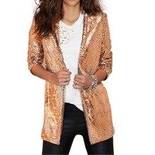 Chic Sequined Women Blazer Gold Silver Jackets Winter Autumn Cardigan Female Ret