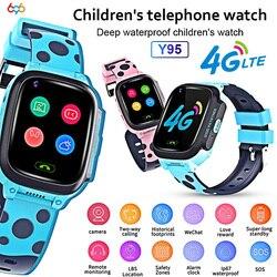 Y95 4G inteligentny zegarek dziecięcy telefon z gps dzieci inteligentny zegarek wodoodporny Wifi antil lost SIM lokalizacja smartwatch tracker HD Video Call w Inteligentne zegarki od Elektronika użytkowa na