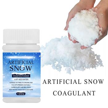 50g 100g magiczny śnieg dodatki natychmiastowy sztuczny śnieg w proszku do domu ślub śnieg dekoracje świąteczne festiwal zaopatrzenie firm tanie i dobre opinie Strong-Toyers CN (pochodzenie) Proszku śniegu Snow