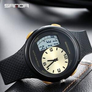 Image 3 - 三田男性の防水学生腕時計ダブルディスプレイ発光多機能アウトドアスポーツ人格電子腕時計