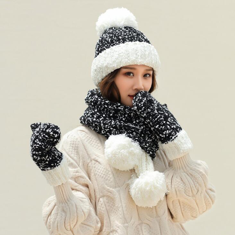 Thick Warm Hat Scarf Glove Set Women Kitted Winter Hats For Girls Hat And Scarf Gloves Three Pieces Women's Hat