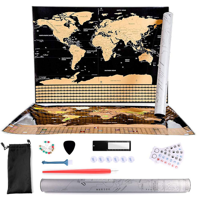 Large Size Scratch Off World Travel Map Premium Personalized Wall Sticker Poster Globe All Country Flags For Travelers