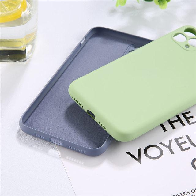 Lovebay couleur bonbon coque de téléphone pour iPhone 11 11 Pro Max Silicone liquide solide uni pour iPhone 11 coque souple coque arrière en TPU 6