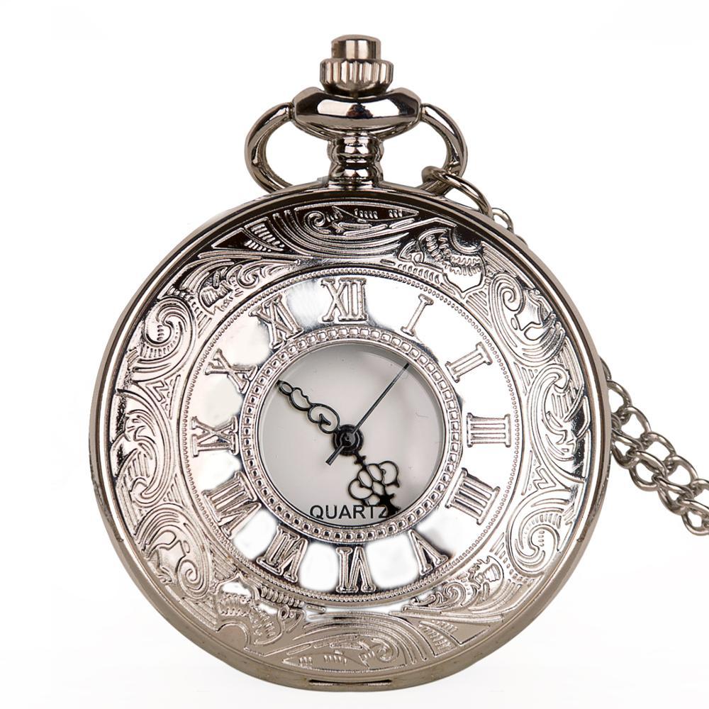 Vintage Steampunk Skeleton Quartz Pocket Watch White Dial Black Numerals Necklace Pendant Men Fob Watch Chain Reloj De Bolsillo