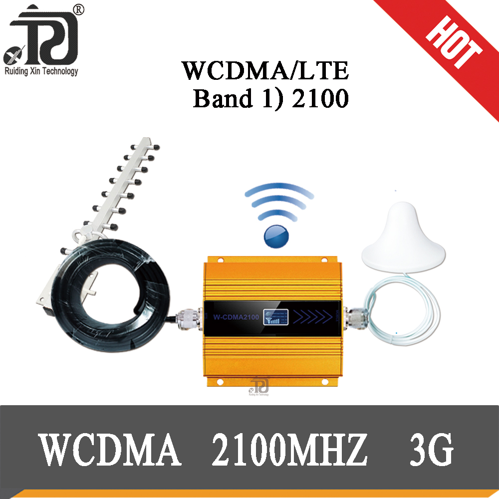 3G Repeater (LTE Band 1) 2100mhz  Mobile Signal Booster WCDMA  Cellular Repeater+Ceiling Antenna + Yagi Antenna + 10m Cable Suit