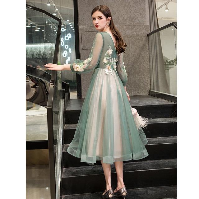 It's Yiiya Evening Dress 2019 Elegant O-Neck Appliques Plus Size Robe De Soiree Applieus Women Party Night Dresses E773 3