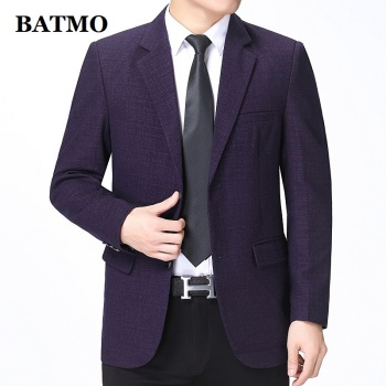 BATMO 2020 new arrival high quality wine red plaid casual blazer men,men's casual jackets ,BGW-92