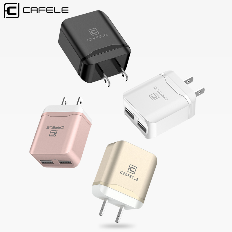 Cafele USA Plug Phone Charger USB Fast Charger Adapter For Huawei iPhone Xiaomi Samsung Dual Ports Mobile Phone Charger Portable