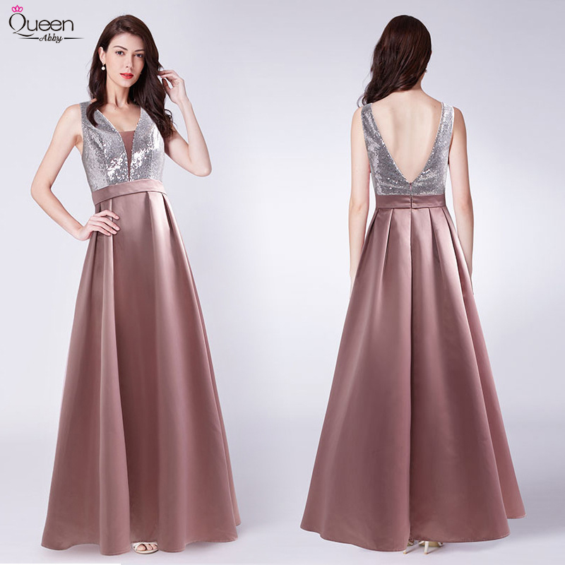 Satin Prom Dresses Sparkle Sequined Long Queen Abby A-Line Deep V-Neck Sleeveless Evening Party Gowns Sexy Vestido De Gala 2020