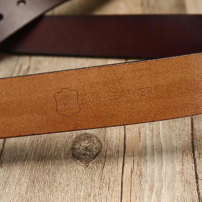 [Lfmb] Sapi Kulit Asli Mewah Tali Pria Ikat Pinggang untuk Pria Baru Fashion Klasik Vintage Pin Gesper Sabuk Kulit pria Sabuk Pria