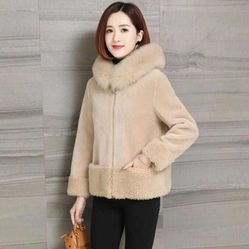 Bulu Imitasi Pabrik Imitasi Fox Bulu Mantel Wanita Musim Dingin Fashion Buatan Bulu Berkerudung Mantel Mantel Wanita Faux Bulu Jaket