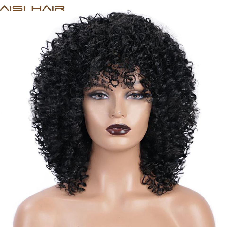 AISI HAIR Synthetic Wig Afro Kinky Curly Wig Mixed Brown And Ombre Blonde Natural Black Hair For Women Heat Resistant Hairs