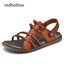 Men Casual Summer Sandals Men's Cow Leather Beach Slip On Slippers Shoes Rome Flat For Man Soft