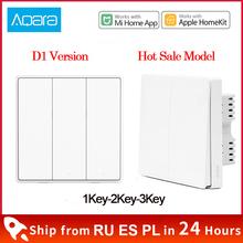 Przełącznik do montażu ściennego Xiaomi Aqara D1 ZigBee inteligentna żarówka pilot bezprzewodowy klucz zerowy przewód przeciwpożarowy nie neutralny 3 przełączniki klawiszy MI Home tanie tanio CN (pochodzenie) Aqara wireless key Ready-to-go 1 12 Miga Smart home 2 kanały Aqara wall switch Light Remote Control zigbee switch