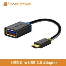 Cabletime-Cable USB tipo C OTG 3,1 a USB 3,0, adaptador de carga rápida/datos para cámara, Samsung, HUAWEI, P20, Mac, dispositivo C010
