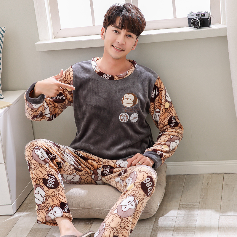 Men's   Pajamas     Set   Autumn Winter Warm Flannel Male   Pajamas     Sets   Long Sleeve Sleepwear Top +Pant Leisure Pyjamas casual homewear