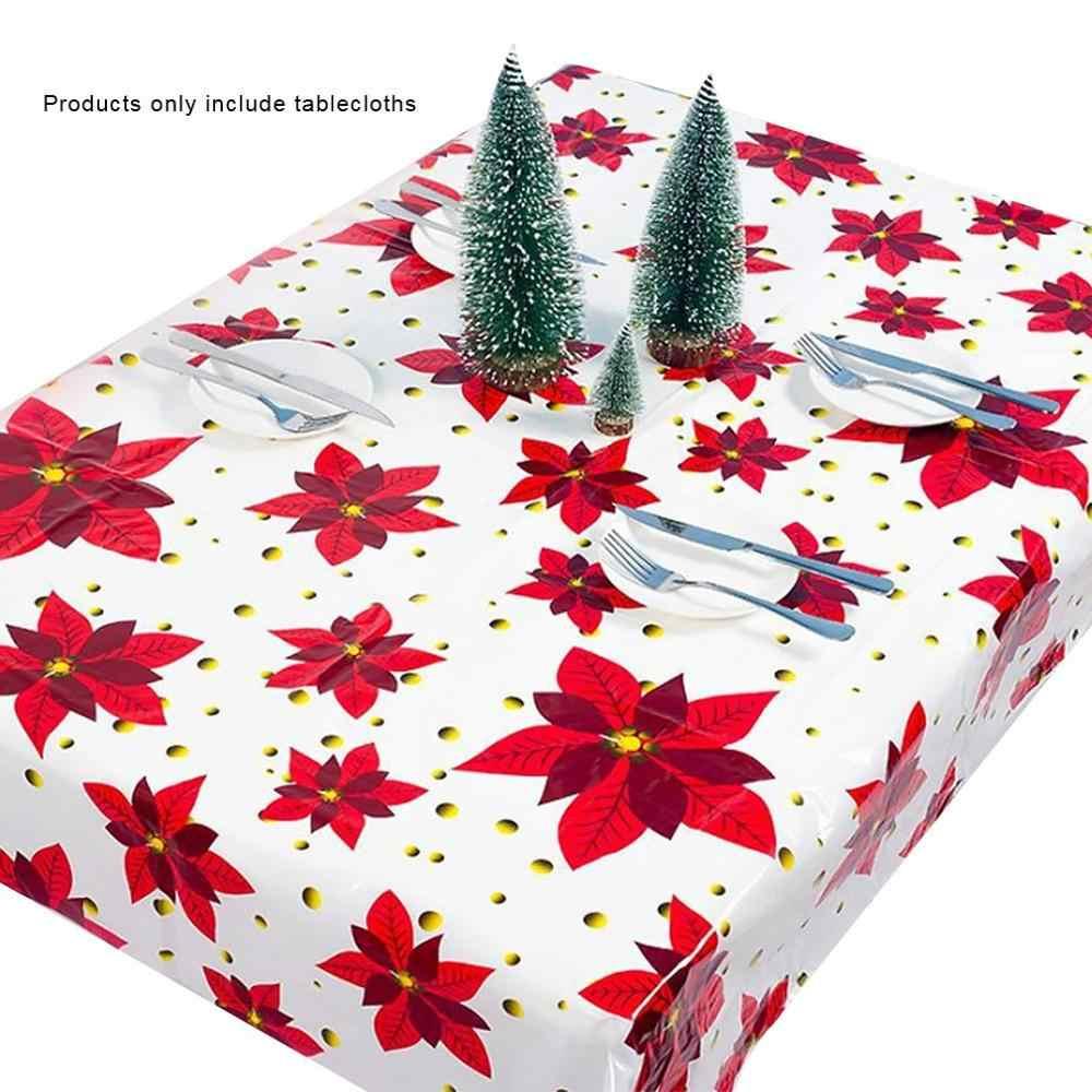 1 Uds 110*180cm paño de tabla de Navidad fiesta de año nuevo impreso rectángulo mantel de PVC funda para mesa de Navidad decoraciones
