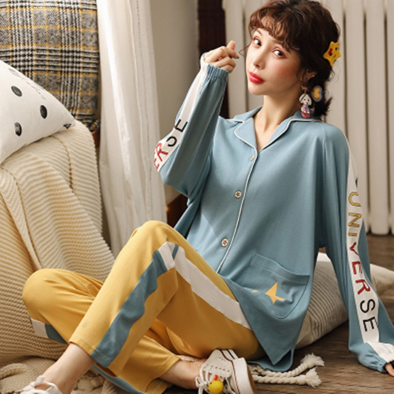 Leisure art small fresh cotton can be worn outside pajamas women's spring and autumn cotton cardigan long sleeve home clothes