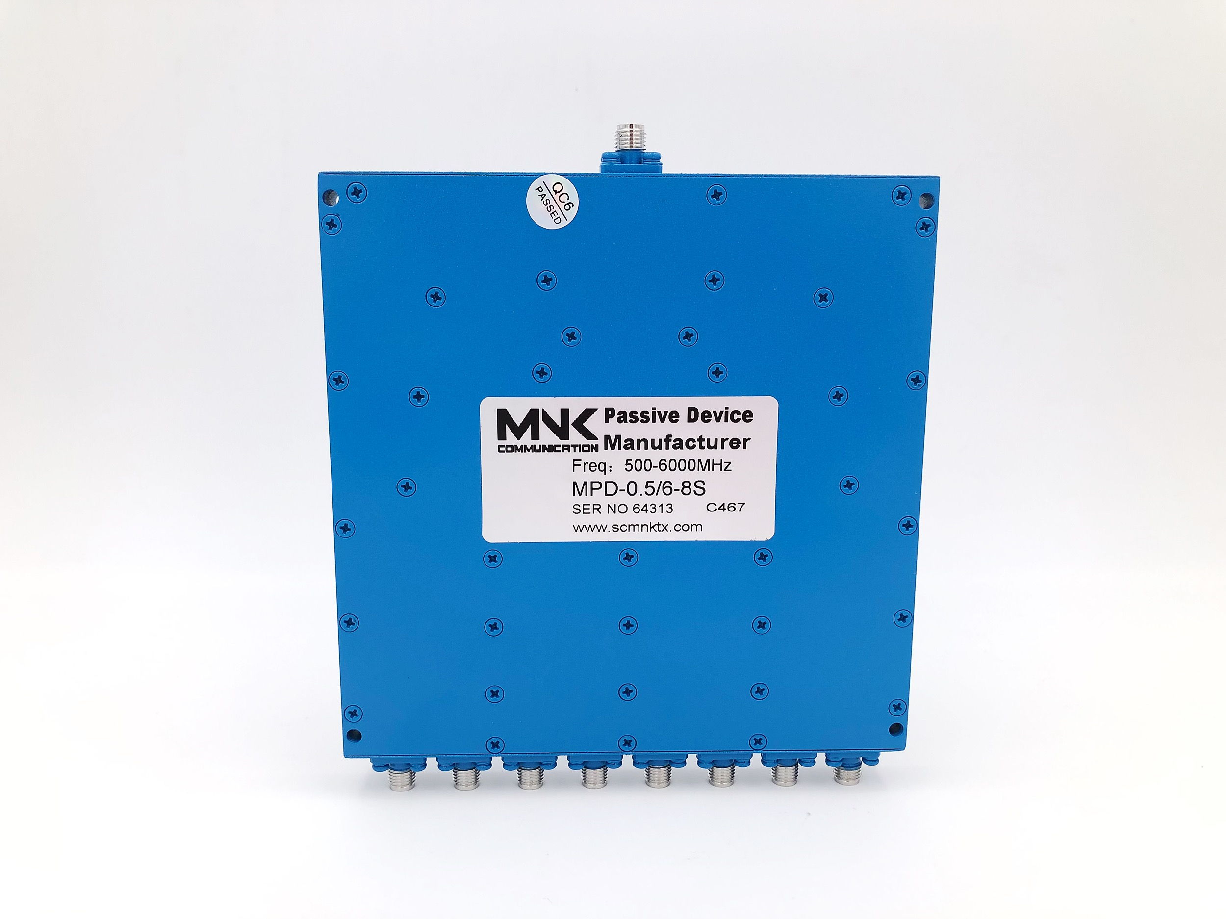 Professional SMA Head 500-6000M Microstrip 8-way Power Divider 1/8 Power Divider 0.5-6G Combiner