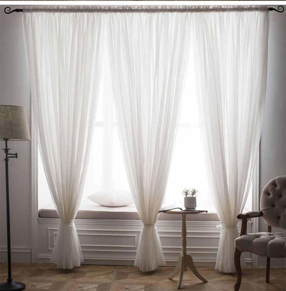 Rắn Trắng Cửa Sổ Chiếu Sheer Màn Cho Phòng Khách Phòng Ngủ Hiện Đại Tulle Sheer Màn Drap Vải Tự Làm