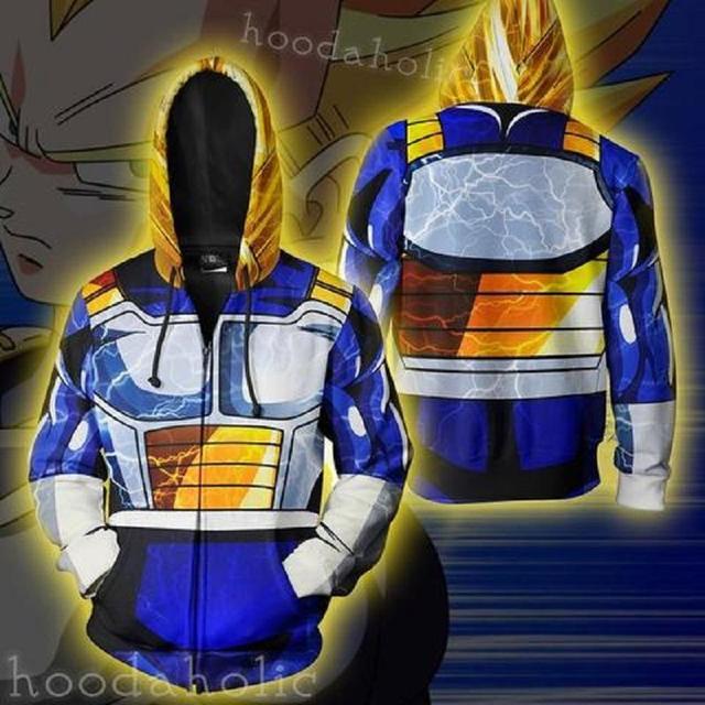 Dragon Ball Vegeta Cosplay Zip Up Hoodie