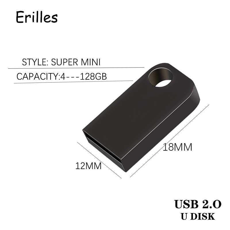 แฟลชไดรฟ์ Super mini USB 2.0 ไดรฟ์ปากกา 64GB 128GB USB Flash Drive pendrive 32GB 16GB 4GB 8GB Flash Disk memoria ความเร็วสูงแฟลช USB